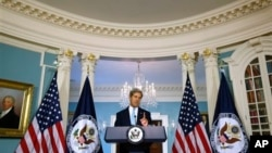 U.S. Secretary of State John Kerry makes statements on Syria at the State Department, Washington, Aug. 30, 2013.