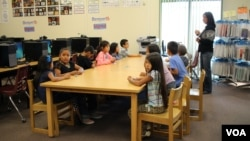 Students learning the Navajo language at Indian Wells Elementary School in Navajo Nation.