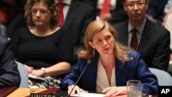 Đại sứ Hoa Kỳ Samantha Power phát biểu sau khi hiệp ước hạt nhân Iran được Hội đồng Bảo an LHQ tán thành hôm 20/7/2015.