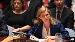 Samantha Power, duta besar Amerika untuk PBB berbicara pada rapat DK PBB di New York (foto: dok).
