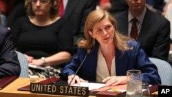 사만다 파워 유엔주재 미국대사가 지난 7월 이란 핵 문제 관련 안보리 회의에서 발언하고 있다. (자료사진)
