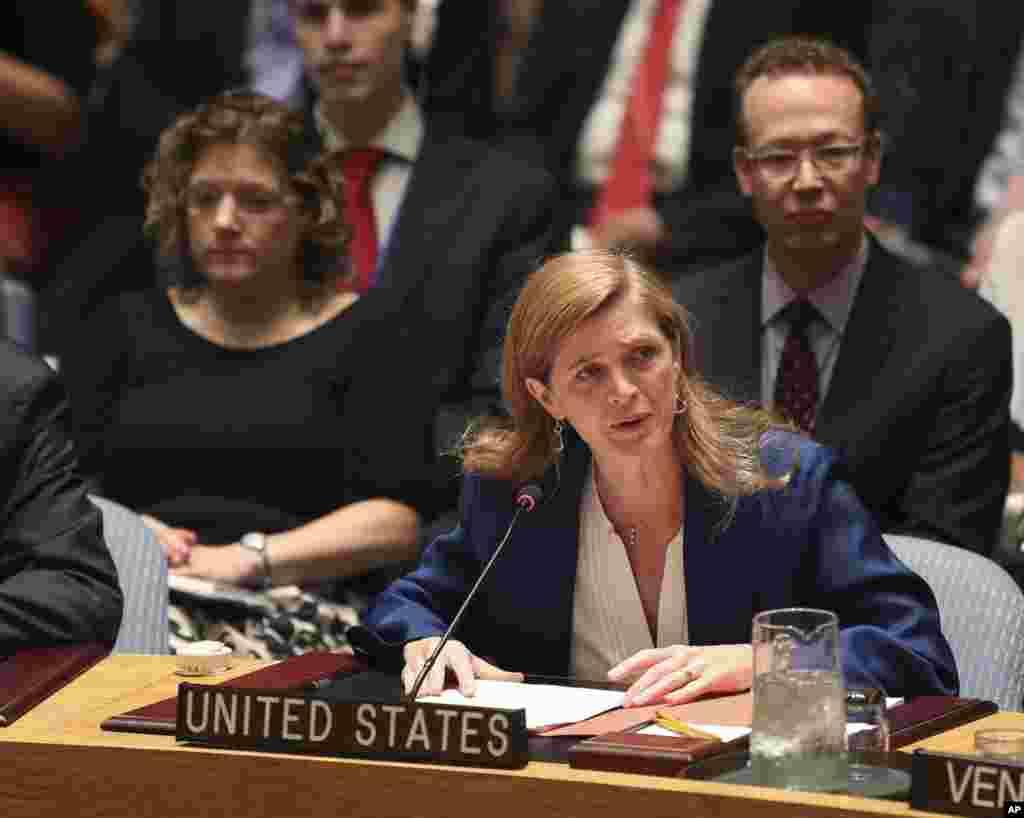 سامانتا پاور، سفیر آمریکا در سازمان ملل متحد، پس از رای گیری شورای امنیت. دوشنبه ۲۰ ژوئیه ۲۰۱۵