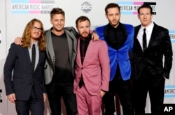 FILE - OneRepublic arrives at the 39th Annual American Music Awards in Los Angeles.