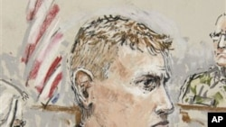 Artist's sketch of U.S. Army Staff Sgt. Calvin Gibbs in court (file photo)