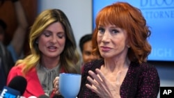Comedian Kathy Griffin, right, speaks along with her attorney Lisa Bloom during a news conference, June 2, 2017, in Los Angeles, to discuss the backlash since Griffin released a photo and video of her displaying a likeness of President Donald Trump's severed head.