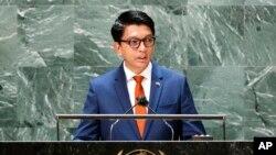 馬達加斯加總統拉喬利納在聯合國大會上發表講話(2021年9月22日)