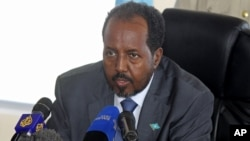 Somalia's President Hassan Sheikh Mohamud speaks at a press conference in Mogadishu. (File)