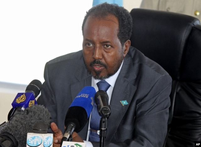 Somalia's President Hassan Sheikh Mohamud speaks at a press conference in Mogadishu, Somalia, , Sept. 12, 2012. File photo