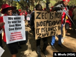 FILE: Members of the Movement for Democratic Change Alliance (MDC) protest against the Zimbabwe Electoral Commission, which they accuse of plotting to rig for ruling ZANU-PF party, in Harare, July 11, 2018.