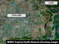 Green spots locate confirmed melioidosis cases in Thailand's Ubon Ratchathani province.