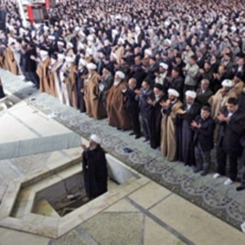 Iranian senior cleric Hojjatoleslam Kazem Sediqi leads Friday prayer at Tehran University on 12 Feb 2010