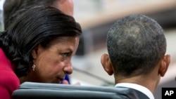 L'ex-conseillère en sécurité nationale Susan Rice avec le président Barack Obama lors d'un sommet sur la sécurité nucléaire à Washington, le 1er avril 2016.