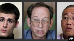 جفری فاول (وسط)، شهروند آمریکایی ماه پیش از زندان کره شمالی آزاد شد. متیو تاد میلر (چپ) و کنت بی، امروز آزاد شدند.
