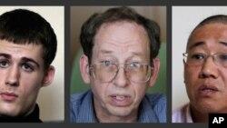 三名被朝鲜扣押的美国公民,从左往右依次为马修•米勒、杰弗里•福尔和裴埈浩。