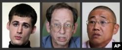 Dari kiri ke kanan, Matthew Miller, Jeffrey Fowle dan Kenneth Bae.