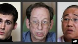 仍被朝鲜当局关押的两名美国人米勒(左)、裴埈皓(右);福尔(中)已被释放