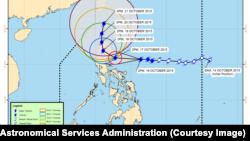 Prakiraan cuaca Topan Koppu (atau yang biasa disebut Topan Lando) yang dirilis oleh Badan Layanan Atmosfer, Geofisika dan Astronomi Filipina, 16 Oktober 2015.