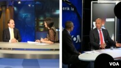 Albanian President Bujar Nishani (L) participates in VOA's Ditari show with Rudina Dervishi. Haitian President Michel Martelly (R) interviewed by Creole Service chief Ronald Cesar.