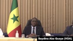 Le Président Macky Sall à Dakar, Sénégal, le 16 mars 2020. (VOA/Seydina Aba Gueye)