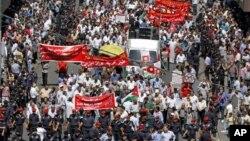 지난달 요르단 수도 암만에서 벌어진 반정부 시위. (자료 사진)