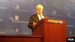 """紐特·金里奇在傳統基金會上發表""""川普主義""""演講(美國之音莫雨拍攝)"""