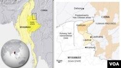Bản đồ khu vực Kokang, Myanmar.