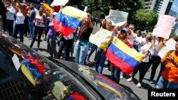 Bloqueo de tráfico en Caracas.