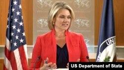 헤더 노어트 미국 국무부 대변인이 4일 정례브리핑에서 기자의 질문에 답하고 있다.