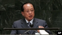 Foreign Minister of Cambodia Hor Namhong at United Nations General Assembly at U.N. headquarters.