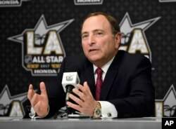 NHL Commissioner Gary Bettman speaks during a news conference at Staples Center, Jan. 28, 2017, in Los Angeles.
