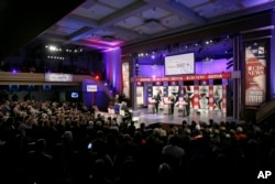Democratic presidential candidates appear during a Democratic presidential primary debate, in Des Moines, Iowa, Nov. 14, 2015.