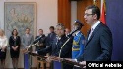 Premijeri Mađarske i Srbije, Viktor Orban i Aleksandar Vučić, na konferenciji za novinare u Beogradu (srbija.gov.rs)