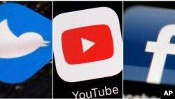 Kombinasi gambar ini menampilkan logo perusahaan dari kiri, Twitter, YouTube, dan Facebook. (Foto: AP)