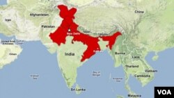 A map showing the areas in north and northeast India affected by the power outages.