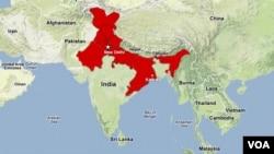 Một bản đồ các khu vực ở phía bắc và đông bắc Ấn Độ bị ảnh hưởng vì mất điện
