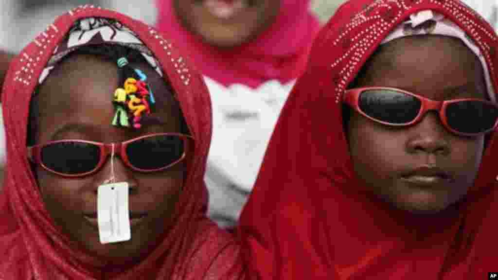 Nigeria Muslims attend Eid al-Fitr prayers at the Obalende prayer ground.