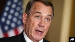 House Speaker John Boehner of Ohio responds to President Barack Obama's intention to spare millions of illegal immigrants from deportation, Washington, Nov. 21, 2014.