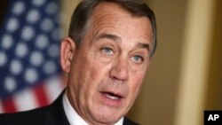House Speaker John Boehner of Ohio responds to President Barack Obama's intention to spare millions of illegal immigrants from being deported, Nov. 21, 2014.