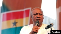 Ghanaian newly elected President John Dramani Mahama gives a speech as he attends a victory rally to thank the supporters of NDC in Accra December 10, 2012.