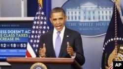 美国总统奥巴马12月8号在白宫发表关于延长工资税减税措施的讲话