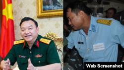 """Đại tá Phùng Danh Thắm (trái), Tổng giám đốc Tổng công ty Thái Sơn, bị khởi tố về cáo buộc """"Thiếu trách nhiệm gây hậu quả nghiêm trọng"""" trong khi Đại tá Bùi Văn Tiệp, nguyên Sư đoàn trưởng Sư đoàn 367, Quân chủng Phòng không - Không quân, bị cáo buộc """"lợi"""
