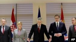 Lideri regiona Bakir Izbetbegović, Kolinda Grabar Kitarović, Dragan Čović, Aleksandar Vučić i Mladen Ivanić na sastanku u Mostaru.