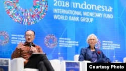 លោកស្រី Christine Lagarde ប្រធាន IMF និងលោក Jim Yong Kim ប្រធានធនាគារពិភពលោក ក្នុងពិធីបើកកិច្ចប្រជុំ Fintech Agenda នៅកោះបាលី។
