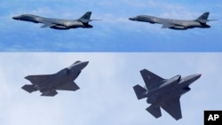 FILE - In this combination of file photos, top: U.S. Air Force B-1B Lancer bombers fly over Japan, July 8, 2017; and two U.S. Air Force F-35 jets arrive at Hill Air Force Base in Utah, Sept. 2, 2015. Two U.S. B-1B bombers and four F-35 stealth fighter jet