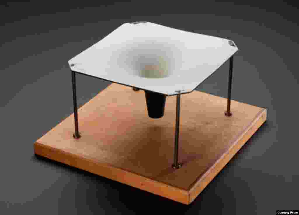 "The model built for Hawking in the early 1970s to show the deep gravitational ""well"" that black holes create in the fabric of space-time, from which not even light can escape. (Whipple Museum of the History of Science)"