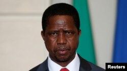 Le président de la Zambie Edgar Lungu au Palais de l'Élysée, à Paris, le 8 février 2016.