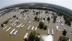 A wide-angle picture of flooded homes in Memphis, Tennessee, this week