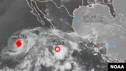 Huracán Andrés y la depresión tropical identificada hasta ahora solo como Two-E.