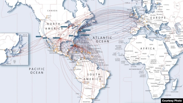 US Airways / American Airlines Combined International Route Map (US Airways)