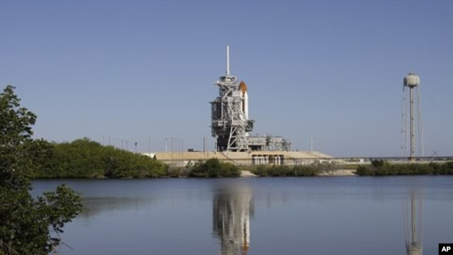 Space shuttle Endeavour is seen at Pad 39A at the Kennedy Space Center in Cape Canaveral, Florida